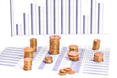 Graph and money — Stock Photo