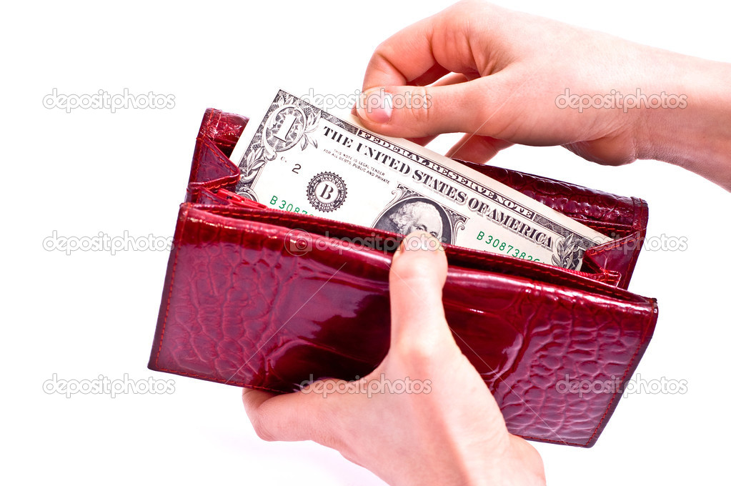 Dollars in red wallet and woman hands isolated on white — Stock Photo #2804585