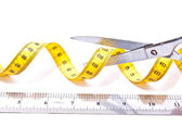 Centímetro e tesouras — Foto Stock