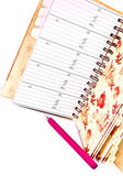 Diary and pink pen — Stock Photo