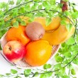 Fruits in basket — Stock Photo