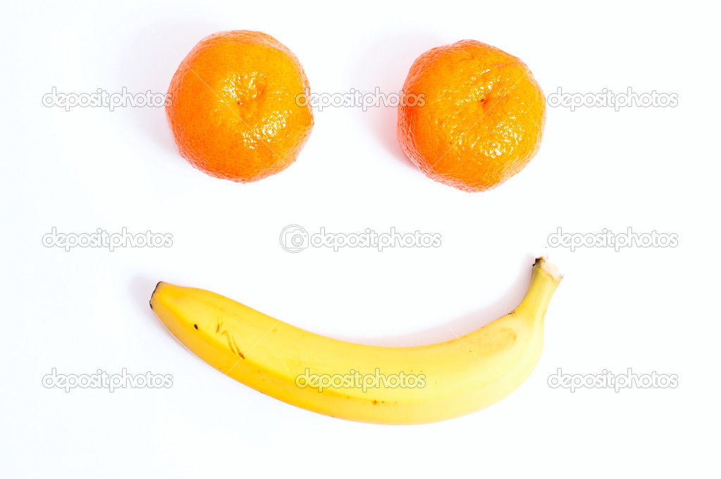 Fruits in the form of the face. White background — Stock Photo #2960681