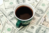 Coffee and money — Stock Photo
