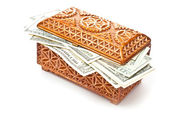 Box and money — Stock Photo