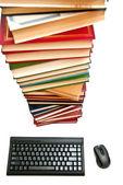 Livros e teclado — Foto Stock