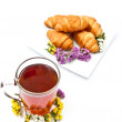 Tea and croissants — Stock Photo
