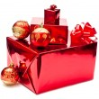 Red christmas gifts and toys - Stock Photo