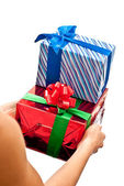 Red and blue gifts boxes — Stock Photo