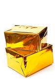 Cajas de regalos de oro — Foto de Stock