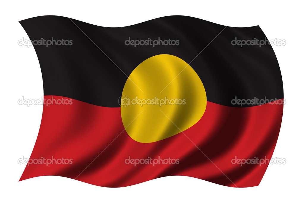 Aboriginal Flag waving in the wind - clipping path included — Stock Photo #2805476