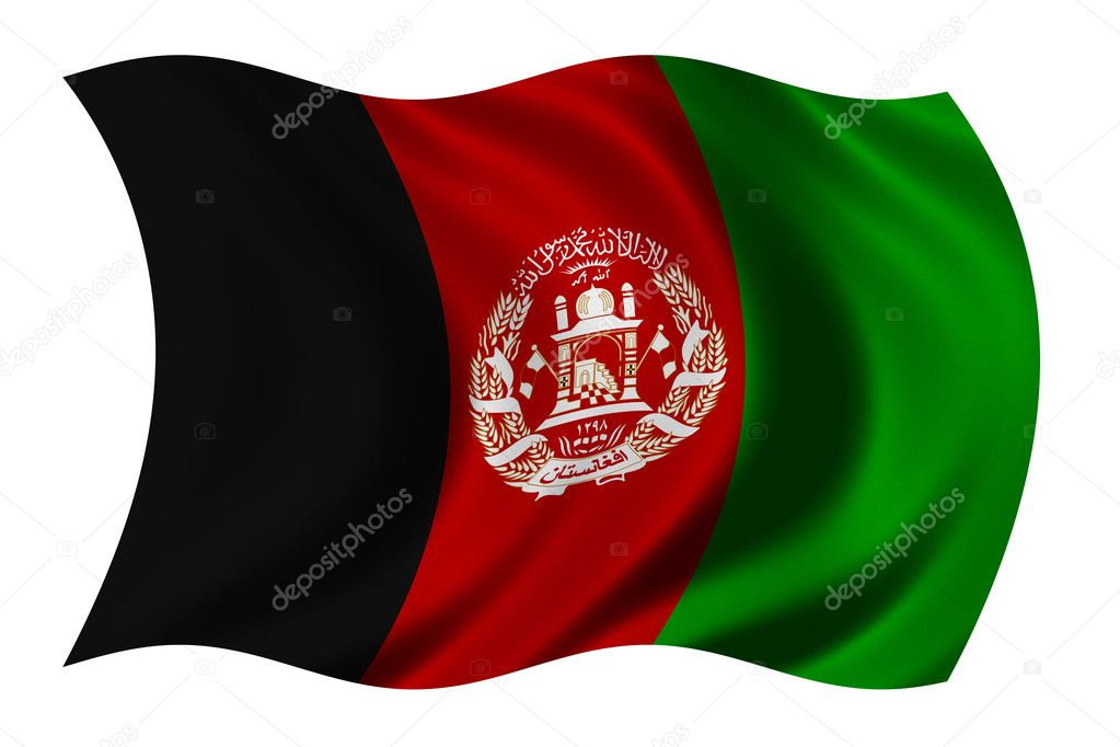 Flag of Afghanistan waving in the wind - clipping path included — Stock Photo #2805493