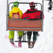 Two skiers on chairlift — Stock Photo #2814398