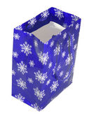 Paper blue bag with snowflakes — Stock Photo
