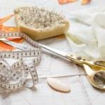 Weave, scissors and needles — Stock Photo