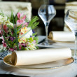 Decorated table in the restaurant — Stock Photo
