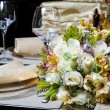 Decorated table in the restaurant - Stock Photo