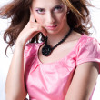 Girl in a pink dress - Stock Photo