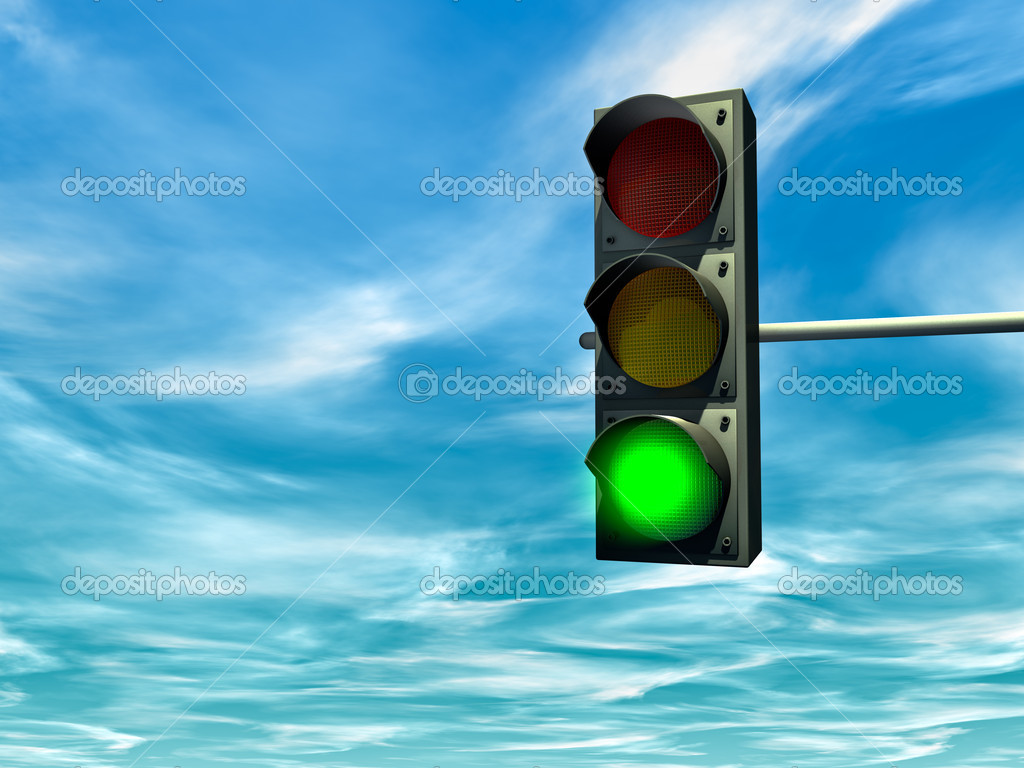 City traffic light with a green signal — Foto de Stock   #2842784