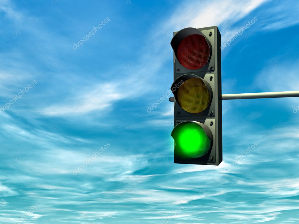 City traffic light with a green signal — Zdjęcie stockowe #2842784
