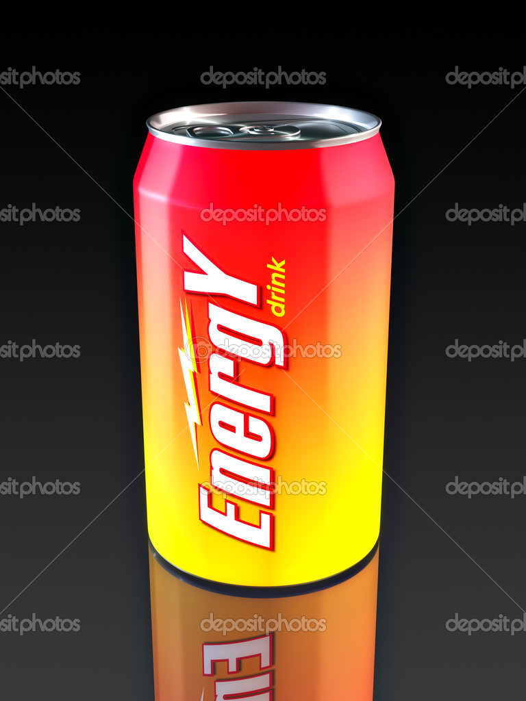 Aluminum Energy Drink Can. Made in 3D. — Foto Stock #2863075