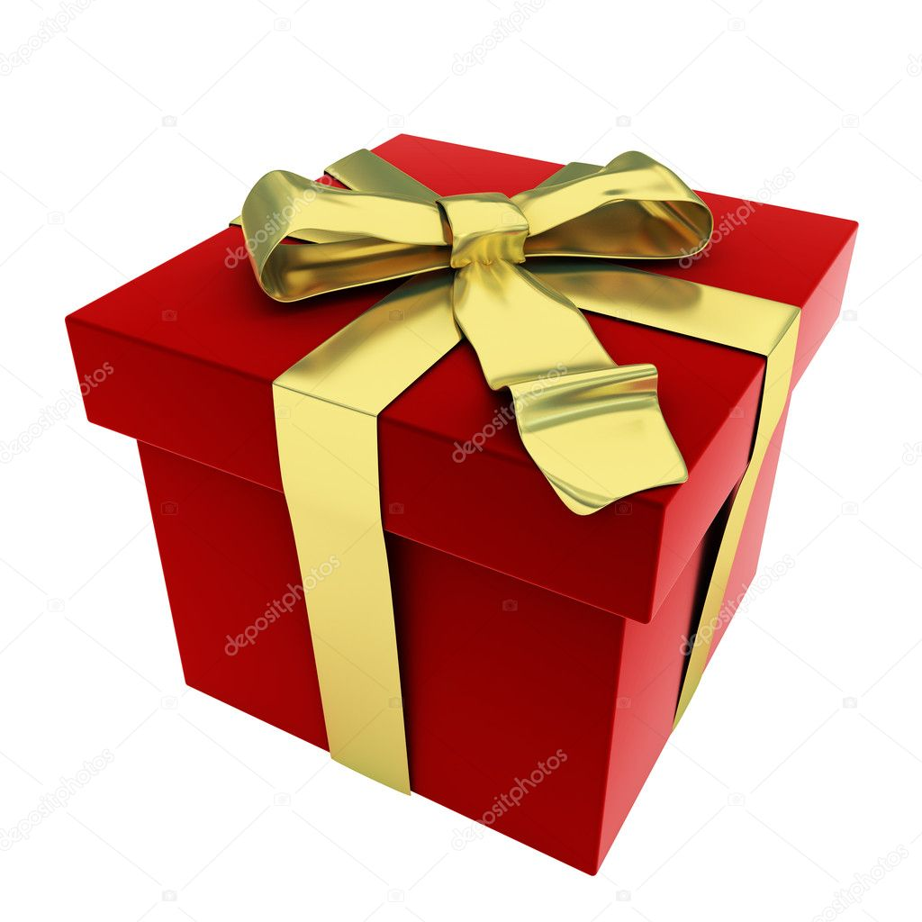 3d render of red gift box with golden bow — Stock Photo #2809701