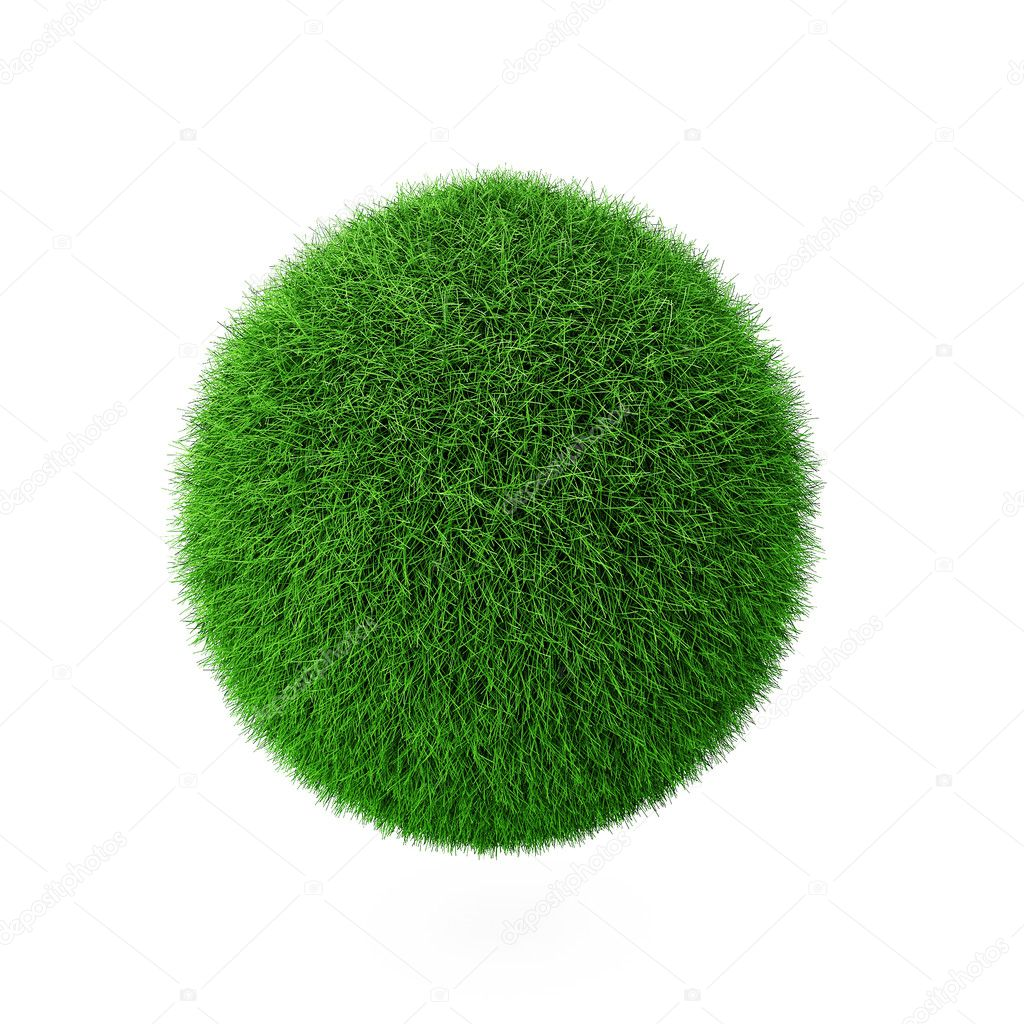 3d render of green grass ball on white — Stock Photo #2810715