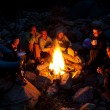 Near campfire in forest — Stock Photo