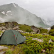 Gray camping tent in mountains. — Stock Photo #3879683