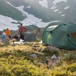 Green camping tent on sunny grassland. — Stock Photo