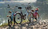 Three bicycles on a beach. — Stock Photo