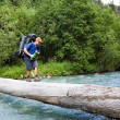 Backpacker crossing the river. — Stock Photo #3893540