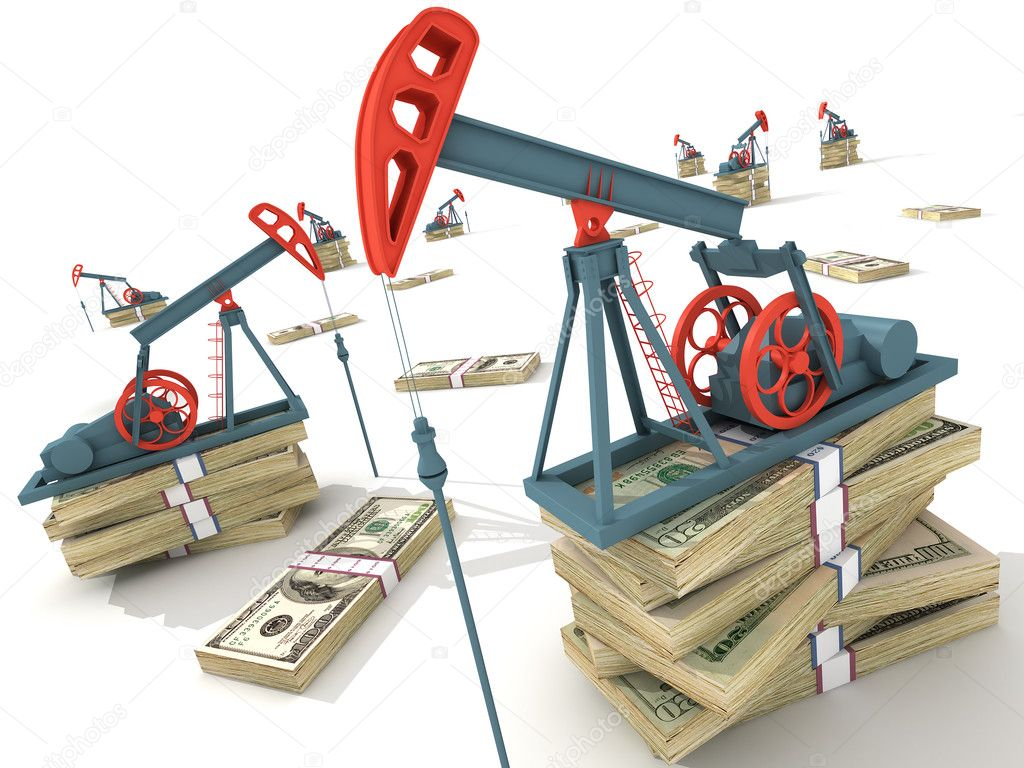 Oil pumps on dollar banknotes. Conceptual 3D illustration. — Stock Photo #3023386