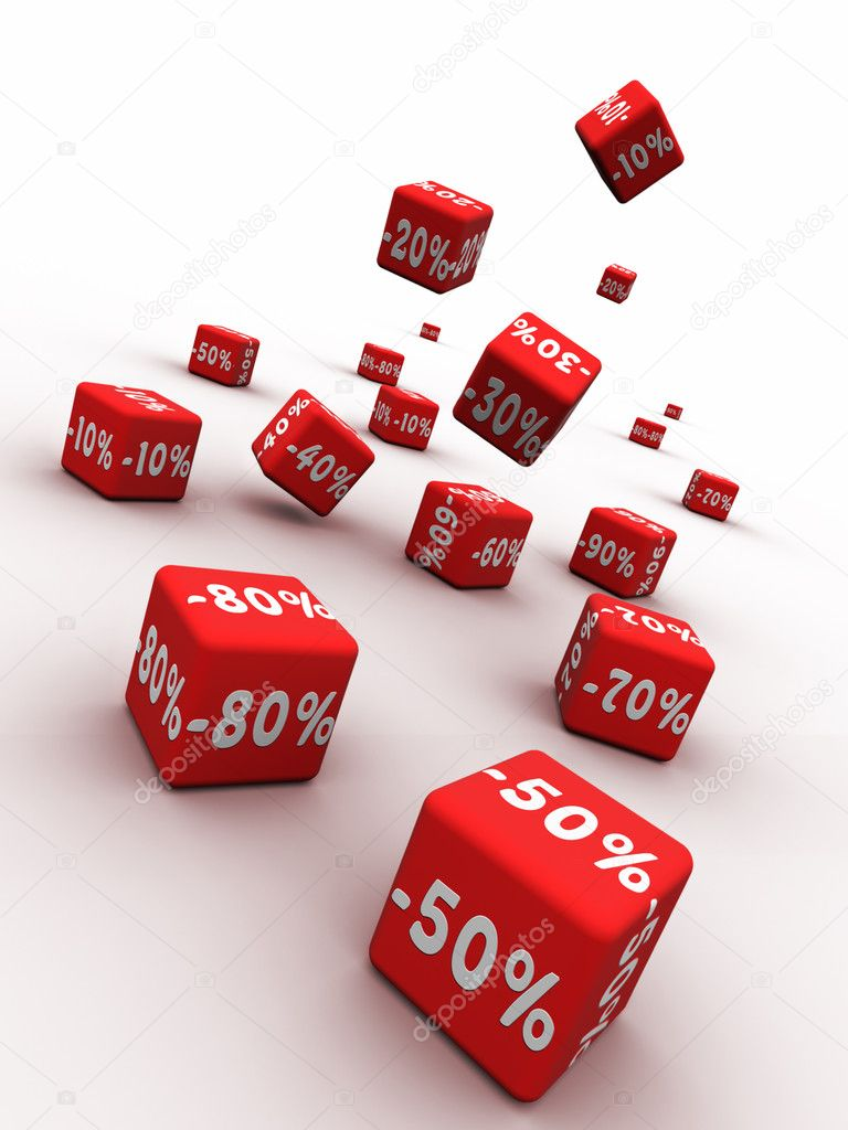 Symbols of percent on falling red cubes.   Stock Photo #3023411