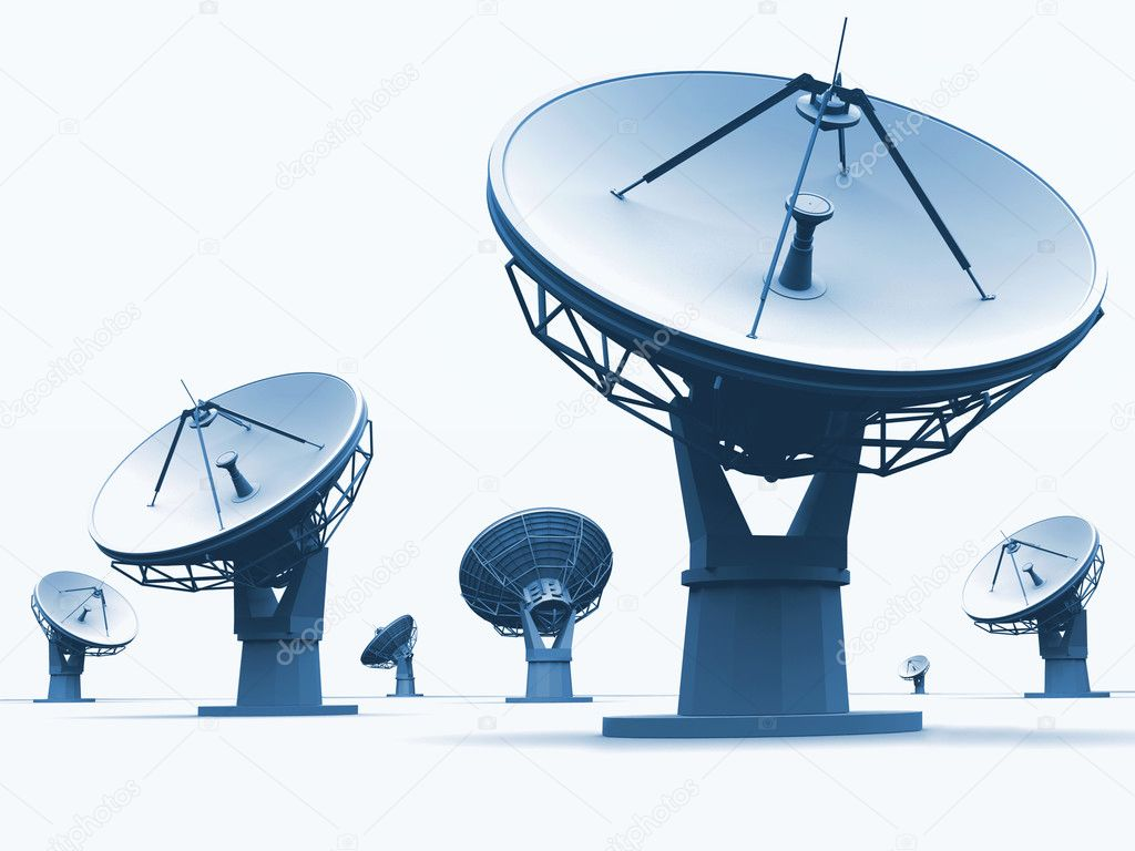 The radiotelescopes on white background  — Stock Photo #3306467