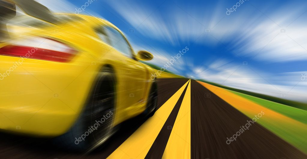 High-speed motion-blurred auto on rural highway — Stock Photo #3306468