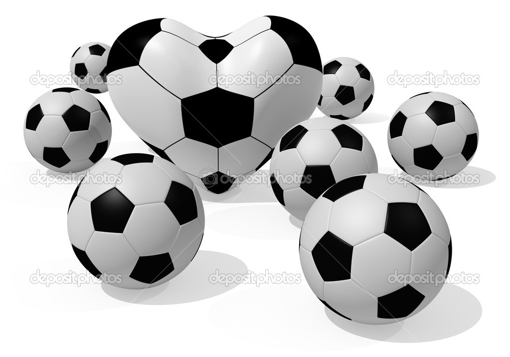3D rendered soccer balls isolated on white — Stock Photo #3546310