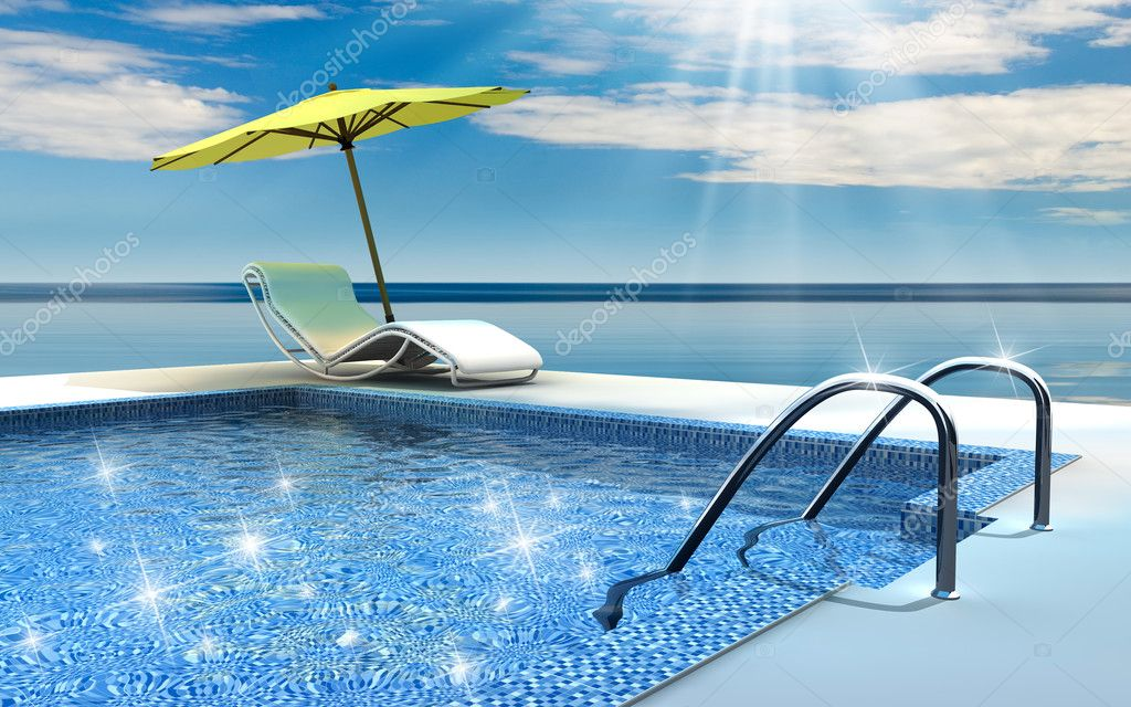 Luxury home swimming pool near the sea — Stock Photo #3659807
