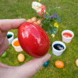 Easter Tradition - Red Egg - Stock Photo