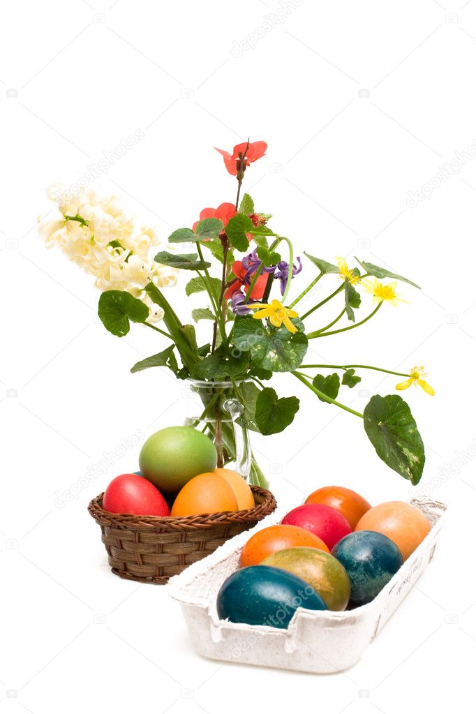 Holidays - Easter. Arrangement with Easter eggs and flowers  isolated on white background.  Stock Photo #2814512