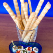 Bread-sticks And Seasoned Cheese — Stock Photo #2913475