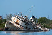 Wreck On The River — Stock Photo