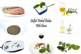 Recipe Colage-Stuffed Herbed Chicken — Stock Photo