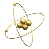 3d Helium Atom in gold — Stock Photo