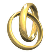 Isolated wedding rings in gold — Stock Photo