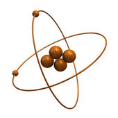3d Helium Atom in wood — Stock Photo