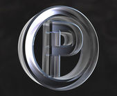 Parking symbol in glass (3d) — Photo