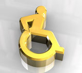 Universal wheelchair symbol in gold (3d) — Stock Photo