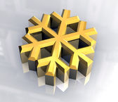 3d schneeflocke in gold — Stockfoto