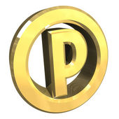 Parking symbol in gold (3d) — Foto Stock
