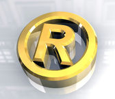 Registered symbol in gold (3d) — Stock Photo